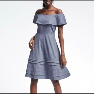 Banana republic off the shoulder chambray dress